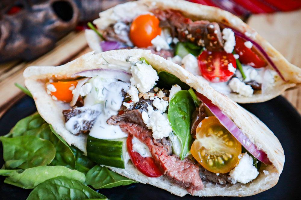 bison-flank-steak-greek-pitas-image