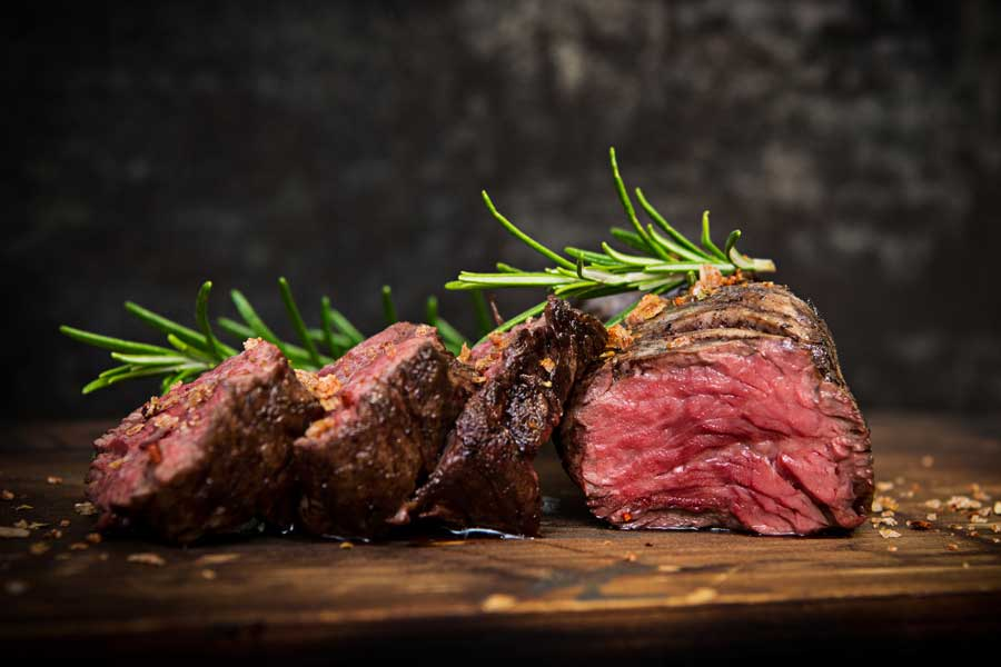 Bison Tenderloin Steak sliced