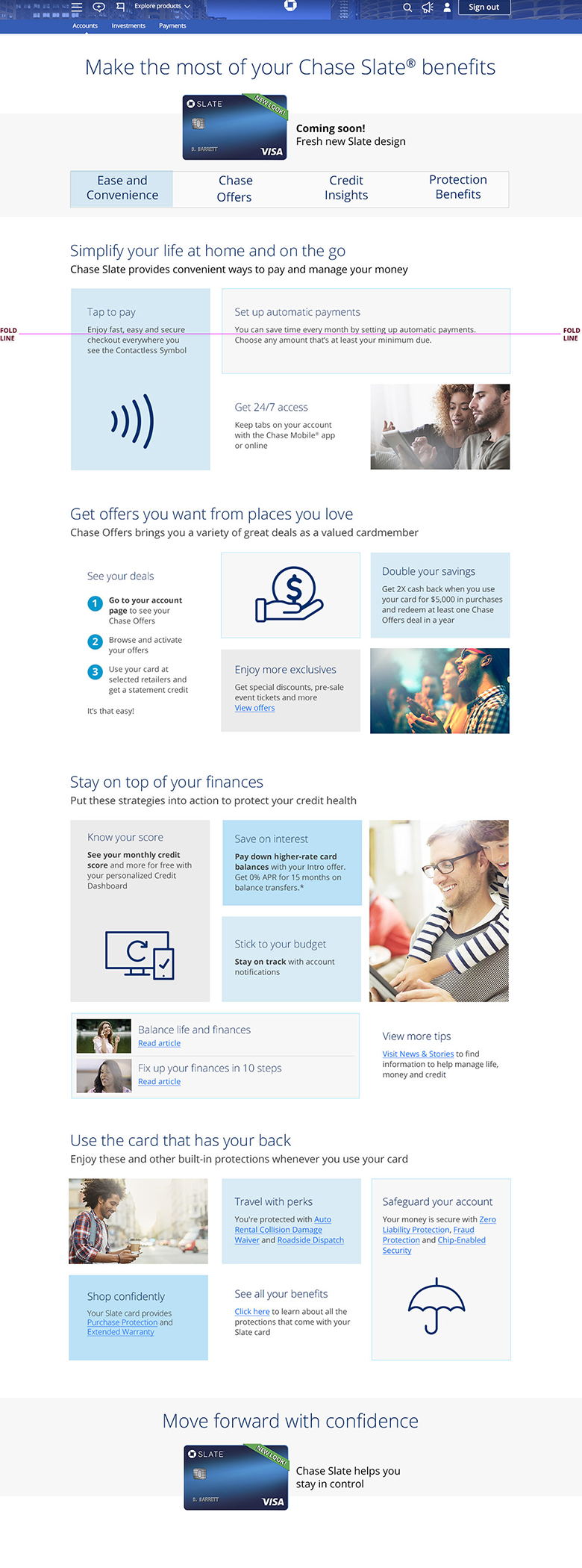 Landing page for J.P. Morgan Chase Slate Card