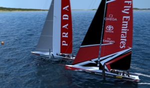 The 36th America's Cup class boat concept of the AC75.