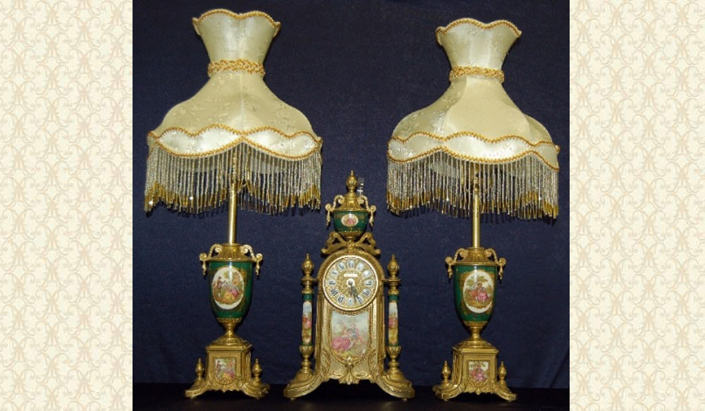 Victorian Clock And Lamps Set FC32GRN