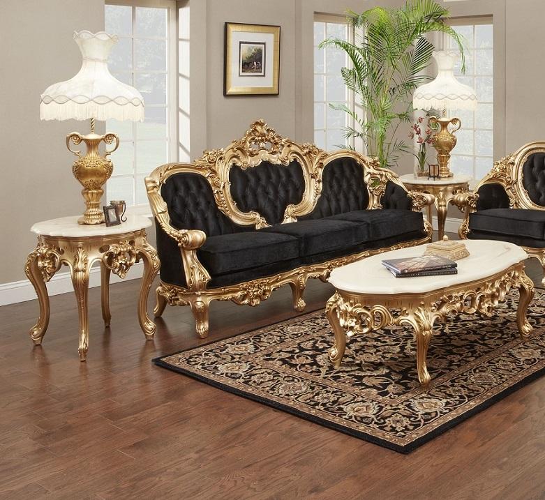 Victorian Sofa Black Velvet # 638