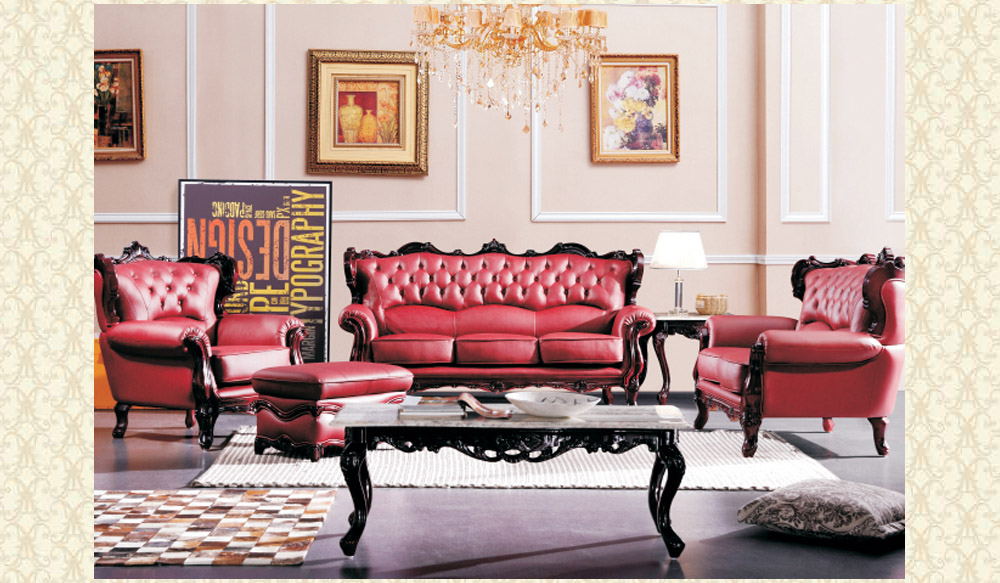 Leather Living Room 2128 Red