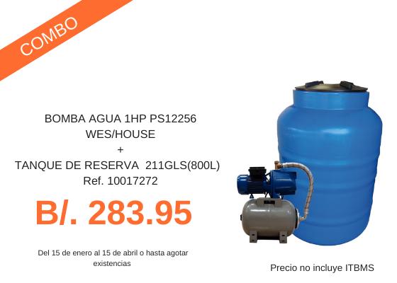 Combo Bomba de agua y tanque de reserva de 800L