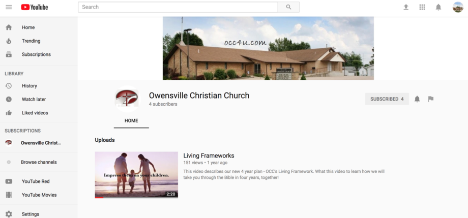Screen Shot of OCC's YouTube page