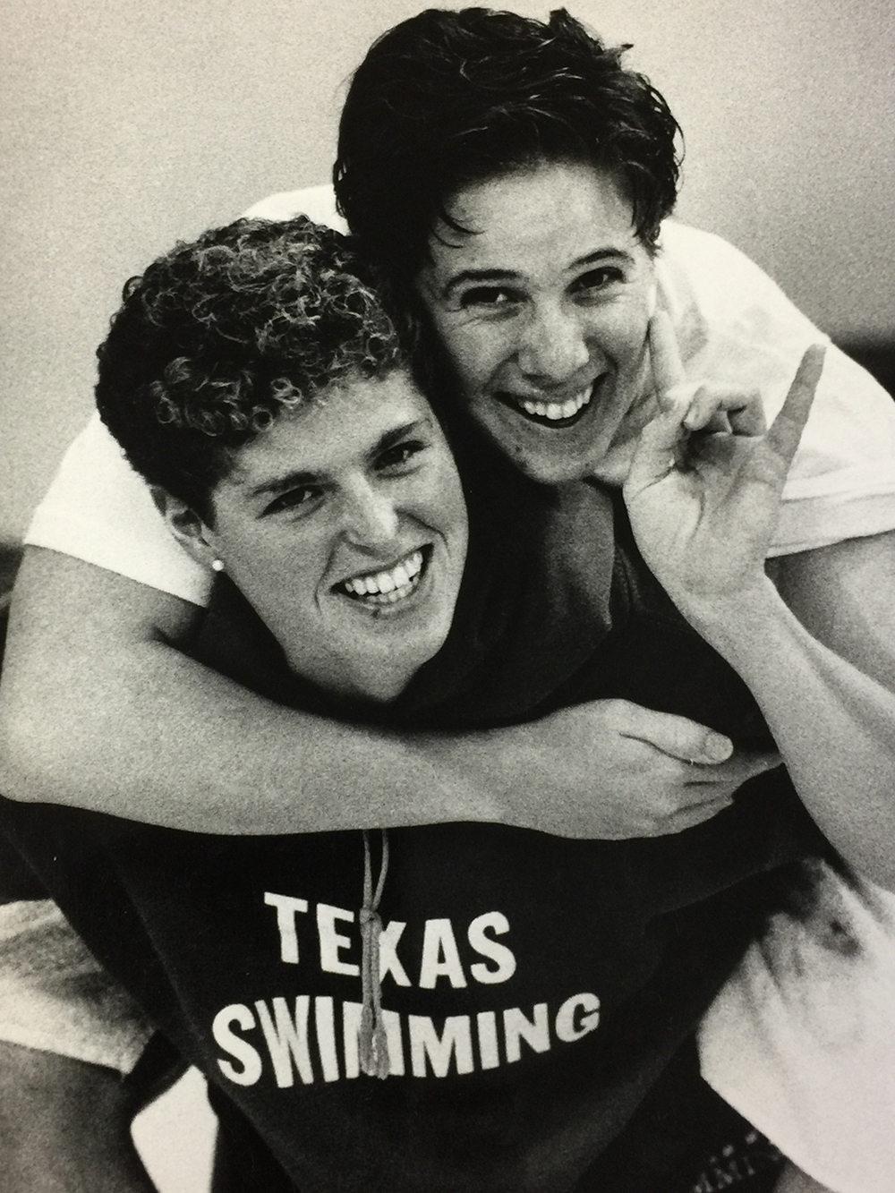 Betsy with University of Texas swim teammate Patty Sabo (Austin – 1987).