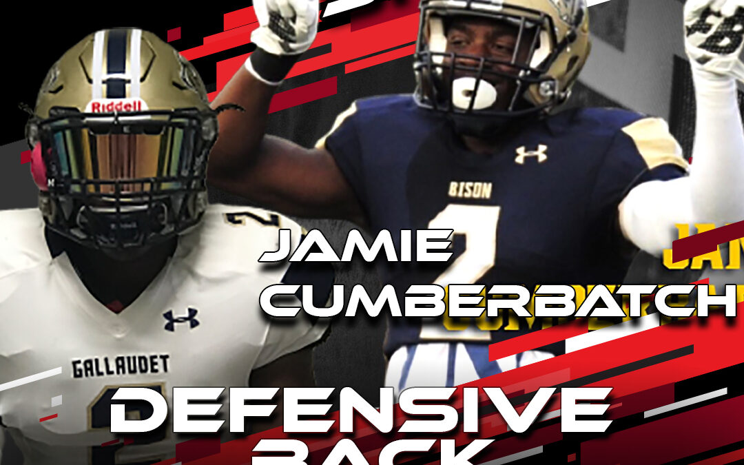Former National Scouting Combine DB Jamie Cumberbatch from Gallaudet