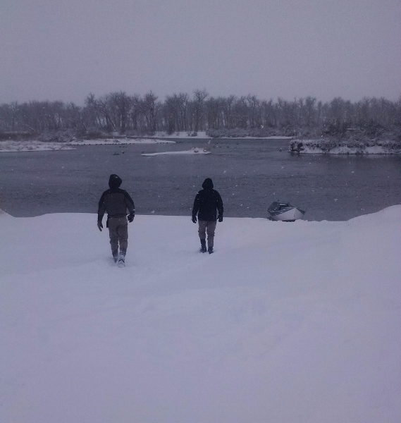Are there people crazy enough to fish in this -34 (with windchill) weather? Yep.