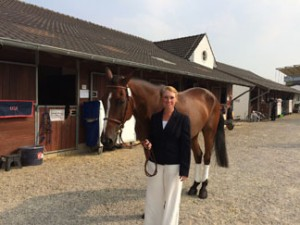 Colleen and CR getting ready for jogs at Aachen. Fantastic photo by Alex