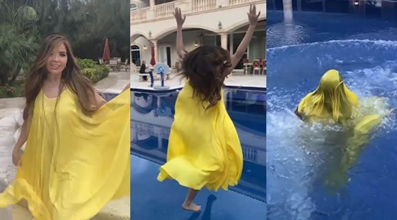 Gloria Trevi cae en su alberca y casi se ahoga por culpa de su vestido