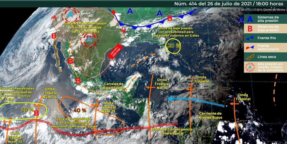 Onda tropical y canal de baja presión provocan lluvias en gran parte de México