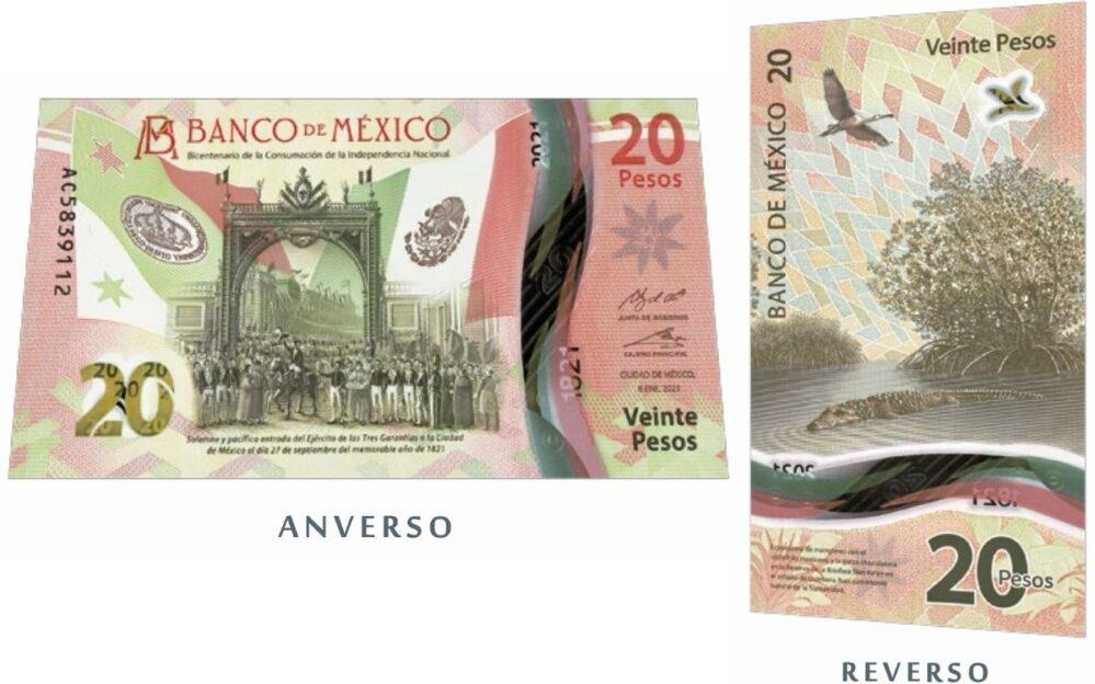 Así luce el nuevo billete de veinte pesos