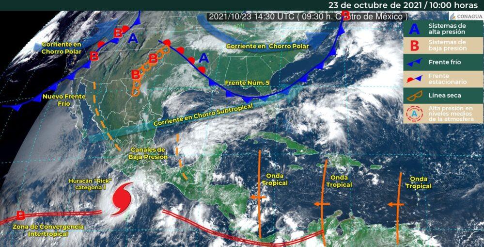 Rick ya es huracán categoría 1 en la escala Saffir-Simpson