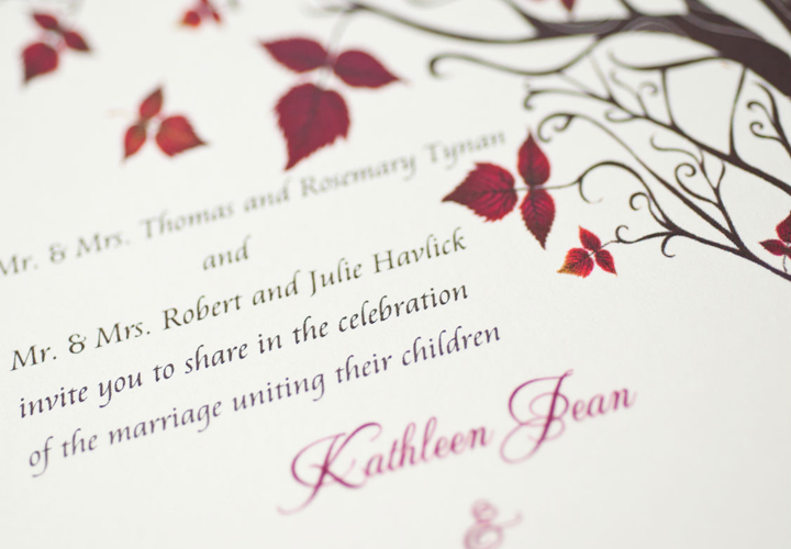 Wedding invitation inspired by nature