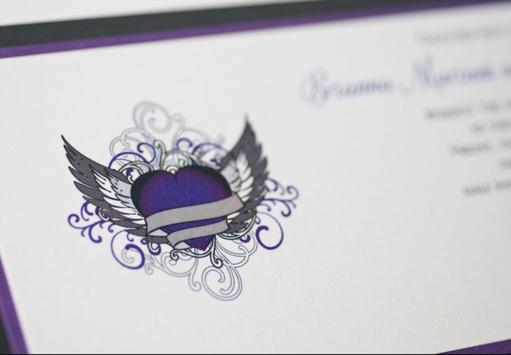 slider purple wedding invitation