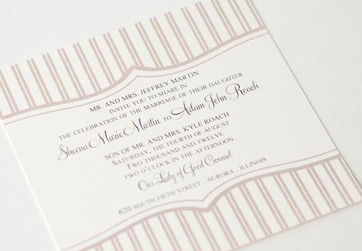 Wedding invitation soft pink stripe