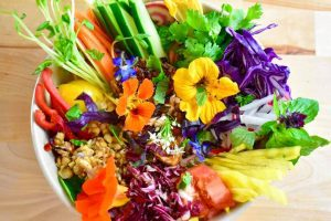 Bowl full of rice vermicelli noodles and colourful vegetables herbs and edible flowers
