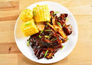 barbecued maitake with corn on the cob