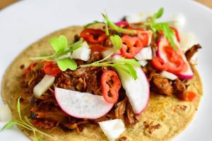 small tortilla topped with goose leg carnitas radish, pepper, onions