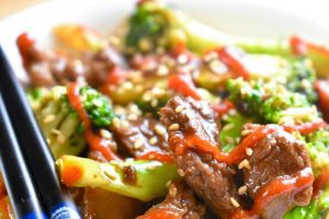 stir fried goose and broccoli with sriracha
