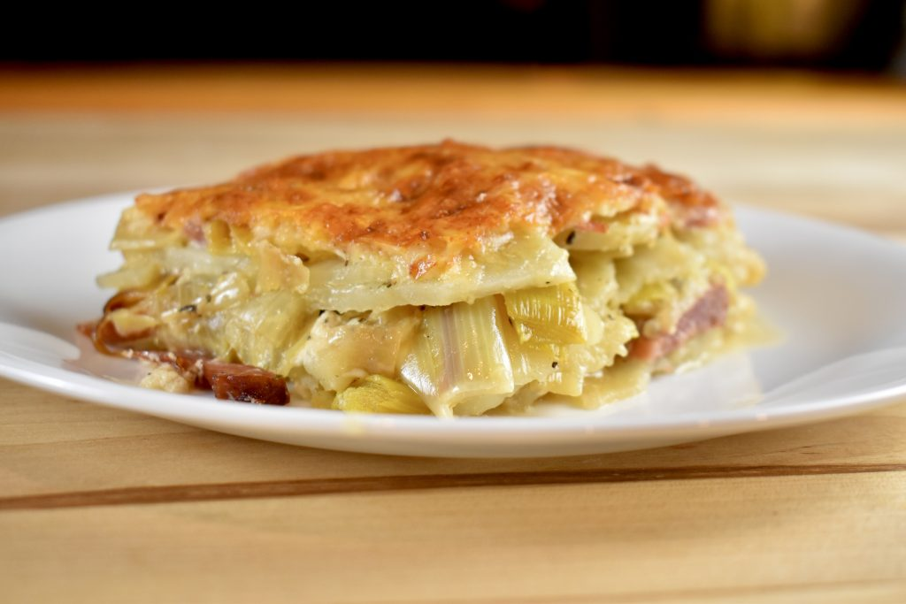 ham, cheese, leek, and potato casserole
