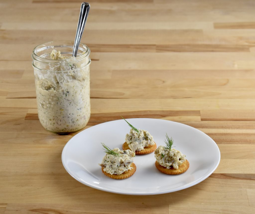 pike rillettes in jar and on crackers