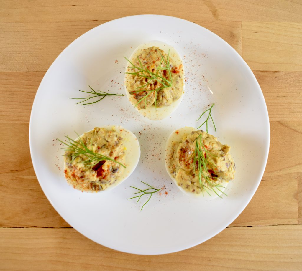 romanian devilled eggs with goose liver