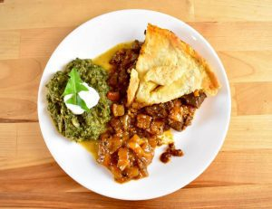 steak and kidney pie with mango chutney and saag