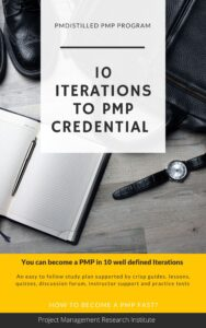 10 Iterations, supported by Instructor, Lessons, Quizzes, Tests, PMdistilled Guides & Discussion forum