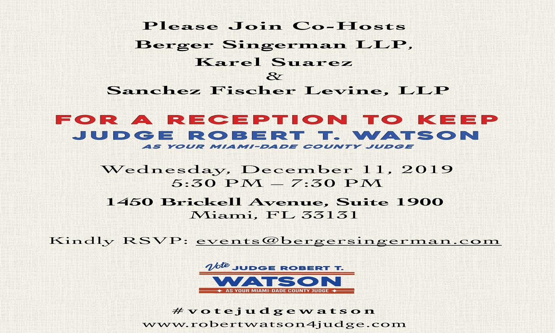 SFL co-hosts Reception for Judge Robert T. Watson