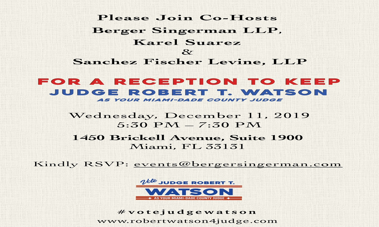 SFL co-hosts Reception for Judge Robert T. Watson
