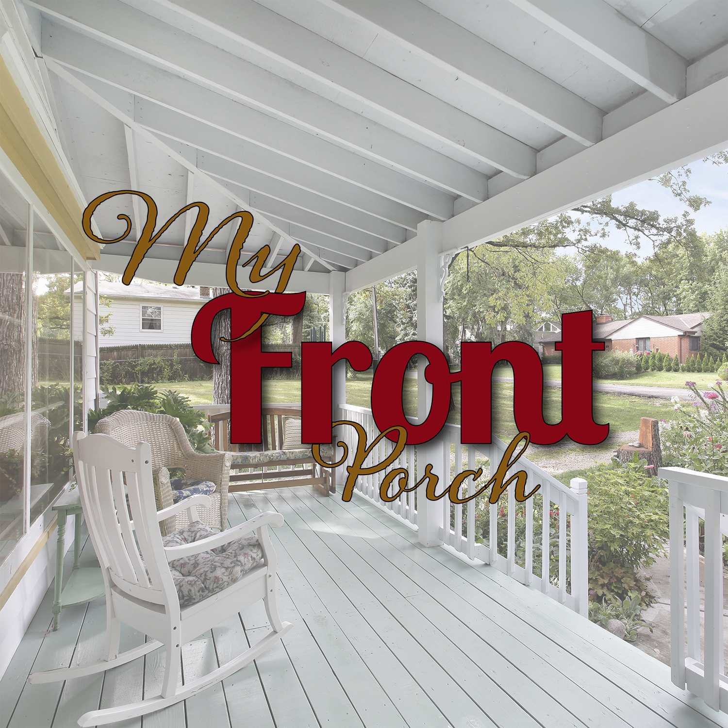 Front porch on suburban home with rocking chair and bench.
