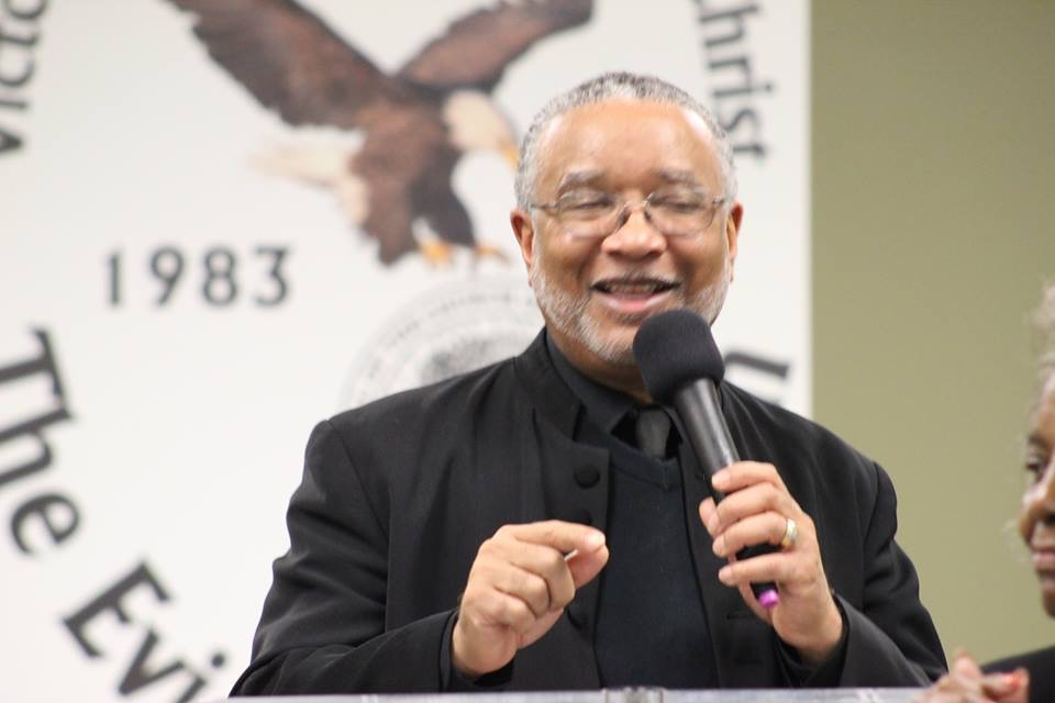 Dr. Gary L. Cordon, Sr. preaching in the pulpit of Victory Temple Church of God in Christ, The Evidence Church