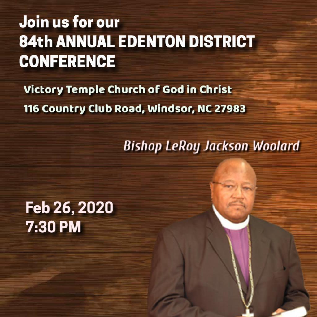 84th Annual Edenton District Conference, Wednesday night - Bishop LeRoy Jackson Woolard