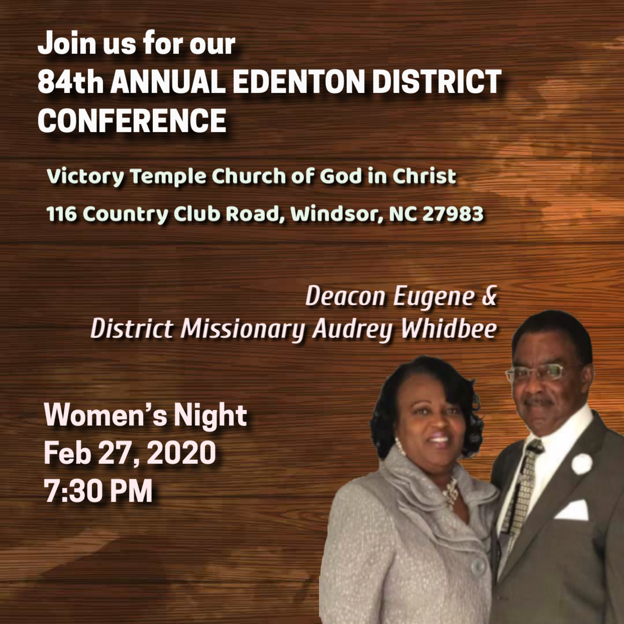 84th Annual Edenton District Conference, Thursday night, Women's night - District Missionary Audrey K Whidbee