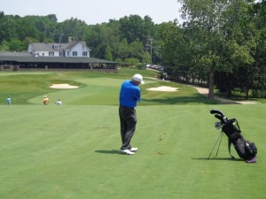 Rory on 18 Wissahickon approach shot DS