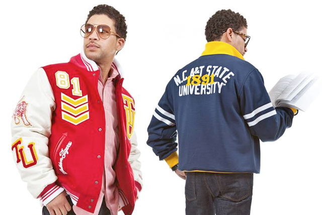 HBCU Male model poses in Tuskegee University varsity jacket on left. The same model posed on the right with his back turned reading a book, and wearing a North Carolina A&T State University vintage sweater.