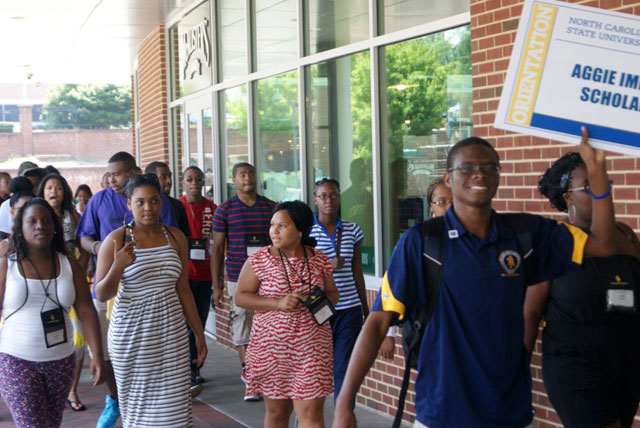 College Survival: HBCU students walk the campus of North Carolina A&T during their new student orientation.