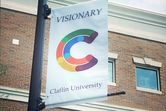 Street lamp banner displays VISIONARY week at Claflin University at the Jonas T. Kennedy Health and Physical Education Center.
