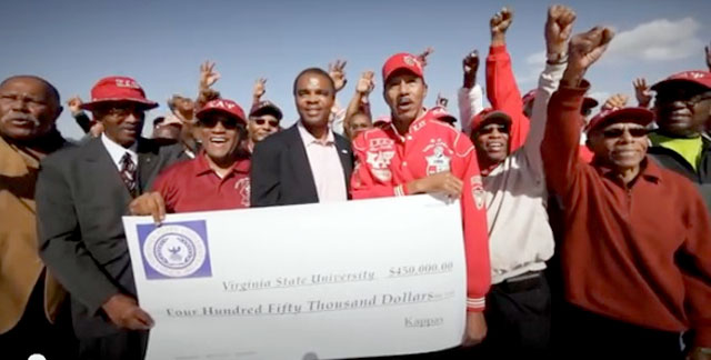 Virginia State University alumni members of Kappa Alpha Psi present their alma mater with a gift.