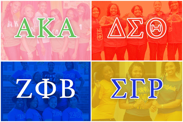 The black sorority members of the National Pan-Hellenic Council: Alpha Kappa Alpha, Delta Sigma Theta, Zeta Phi Beta, and Sigma Gamma Rho.