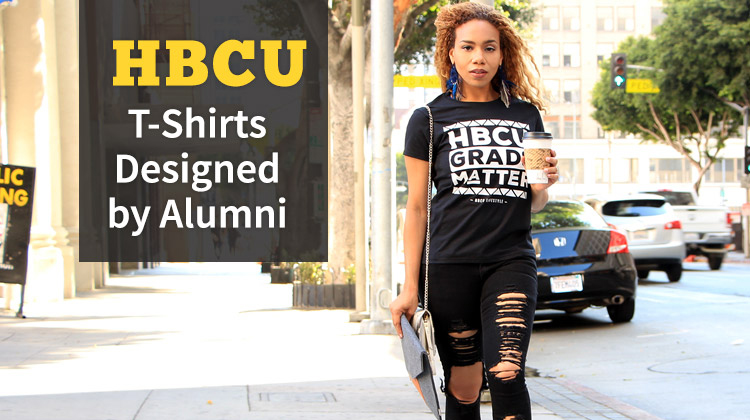 HBCU graduated walking down the street holding a coffe while wearing a HBCU Grads Matter T-shirt from the HBCU Shop.