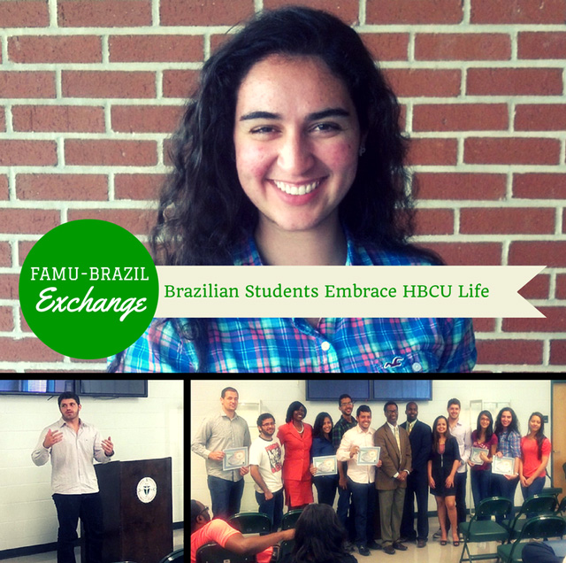 A collage of images with Brazilian exchange students taken at the Center of Global Security's Spring 2014 Induction Ceremony. These students were honored for their assistance with a scholar program.