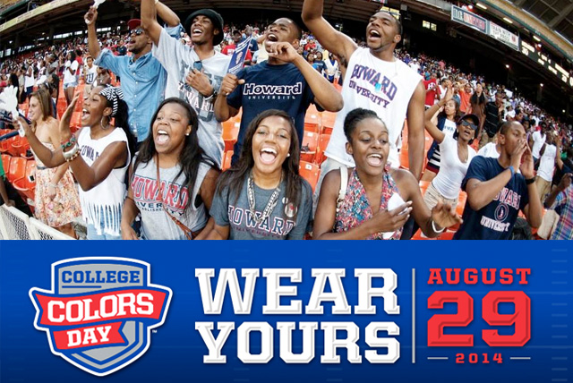 College Colors Day: Howard University fans show their school colors while cheering on the Bison football team form the stands at the AT&T Nation's Football Classic.
