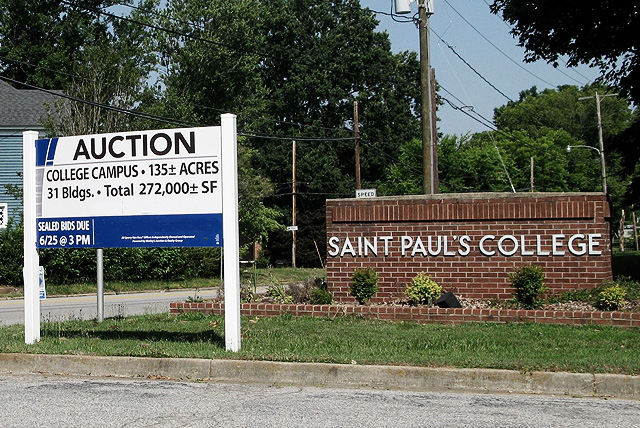 An auction sign posted in front St. Paul's College after closing its doors in 2013. For HBCU Alumni this should be a wake up call that your alma mater might be next.