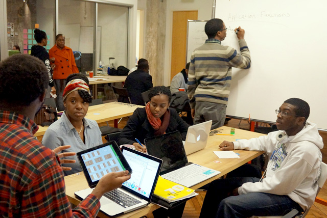 HBCU students work on tech concepts during Hackathon lead by the Black Founders.
