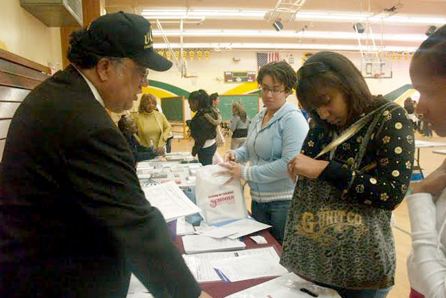 High school students speak to U-CAN's founder Alan Rowe at the 15th Annual U-CAN HBCU College Recruitment Fair.