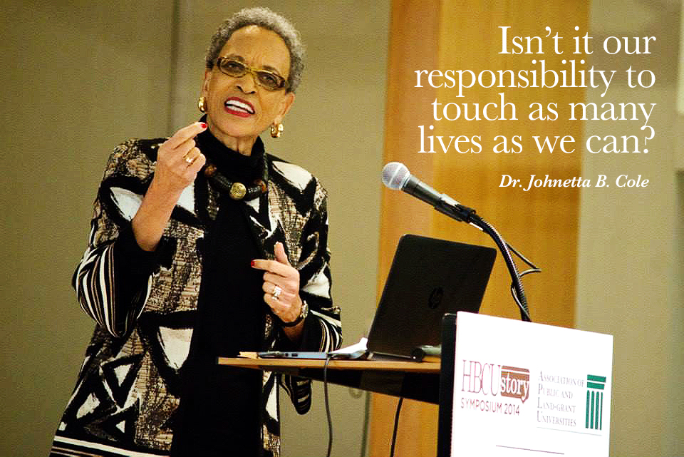 Keynote speaker Dr. Johnetta B. Cole. Dr. Cole addresses the audience at the 2014 HBCUStory Symposium in Washington, DC.