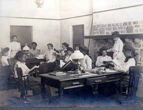 Cheyney University Emlen Hall reading room, early 1900s.