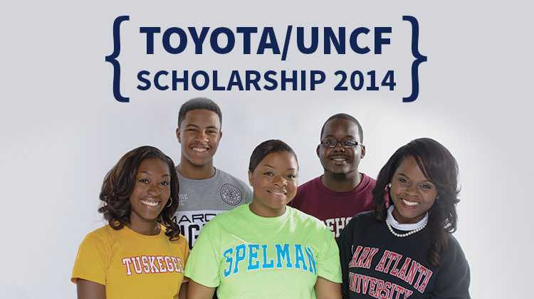 Four HBCU students representing some of the UNCF member colleges pose together for a group photo.